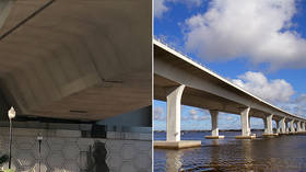 Florida bridge 'at risk of imminent collapse' after concrete fell and crack appeared overnight (PHOTOS)