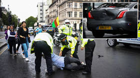 Boris Johnson in minor CAR CRASH outside parliament after protester runs in front of convoy (VIDEO, PHOTO)