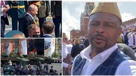 Missiles, tanks & Putin: Boxing icon Jones Jr. had front-row seats for Moscow Victory Day celebration – and he LOVED it (VIDEO)
