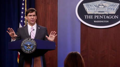 U.S. Defense Secretary Mark Esper takes questions during a news conference at the Pentagon in Arlington, Virginia, U.S., April 14, 2020. © REUTERS/Jonathan Ernst