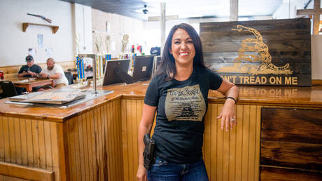 Lauren Boebert poses for a portrait at Shooters Grill in Rifle, Colorado on April 24, 2018.