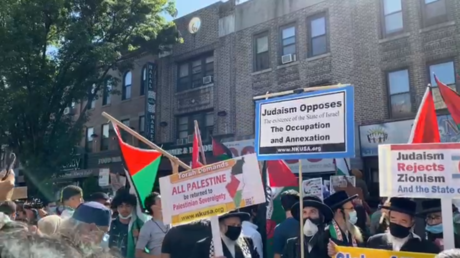 A general view of the 'Day of Rage' rally to protest Israeli annexation plans in the West Bank, in Brooklyn, New York, July 1, 2020.