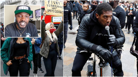 Rapper Zuby (inset); A Black Lives Matter rally in London - Reuters / HENRY NICHOLLS (left) Anthony Joshua at a BLM rally in Watford - Reuters / Paul Childs (right)