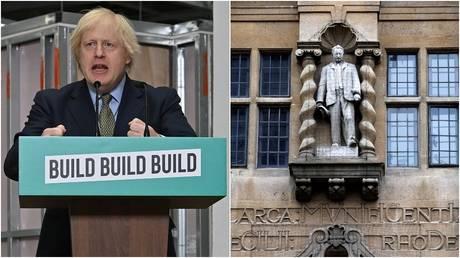 (L) British PM Boris Johnson © Reuters/Paul Ellis/Pool (R) A statue of Cecil Rhodes outside Oriel College, Oxford University © Reuters/Eddie Keogh