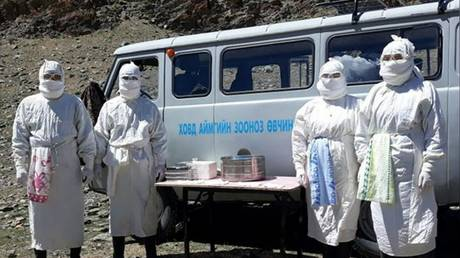Staff of the Mongolian National Center for Zoonotic Disease (NCZD) conducting plague tests in Khovd province