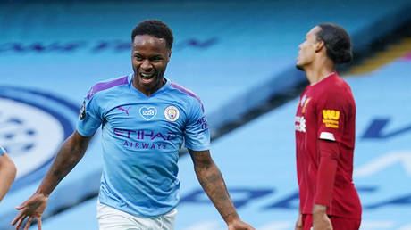 Manchester City forward Raheem Sterling celebrates scoring in the rout against Liverpool. © Reuters