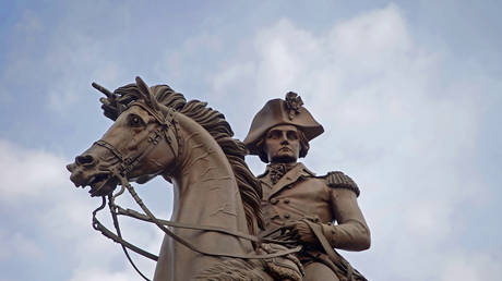 A statue of George Washington on a horse outside the Virginia State Capitol building in Richmond, Virginia