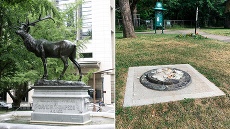 (L) The Elk Statue in Portland before it was set alight, file photo © Wikipedia / Cacophony; (R) The remnants of a Frederick Douglass statue ripped from its base at a park in Rochester, NY, July 5, 2020. © WROC-TV via AP / Ben Densieski