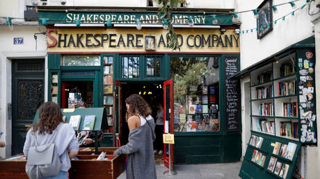 Second-hand books are put on sale outside the Shakespeare and Company bookstore in Paris, France