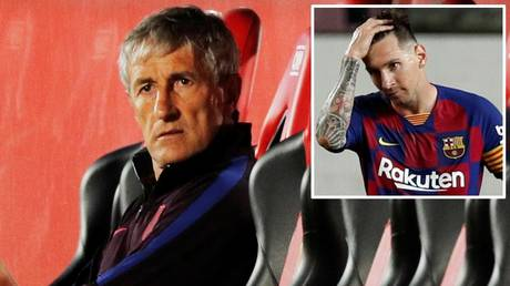 Barcelona boss Quique Setien and (inset) Lionel Messi