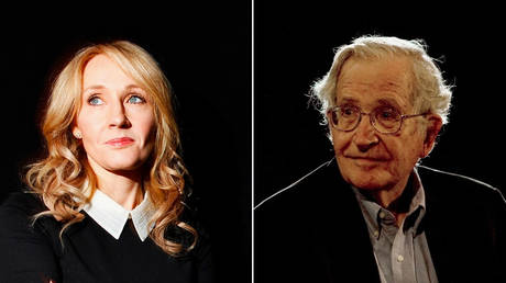 JK Rowling at Lincoln Center in New York; Noam Chomsky at the National Autonomous University's Educational Investigation Institute in Mexico City ©  REUTERS/Carlo Allegri/Jorge Dan