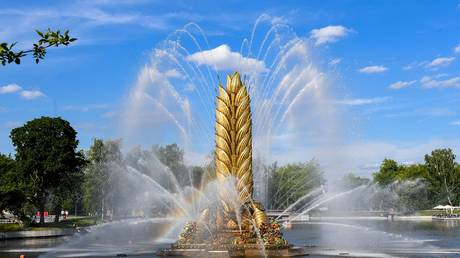 'The Golden Ear of Wheat' fountain at VDNH park in Moscow