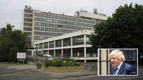 (M) Hillingdon Hospital, West London © Wikipedia/Marion Phillips (BR) PM Boris Johnson © Global Look Press/Keystone Press Agency/Martyn Wheatley