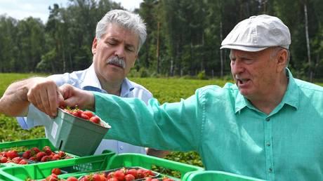 Pavel Grudinin (L) and Vladimir Zhirinovsky (R) at Lenin State Farm © Sputnik / Ramil Sitdikov