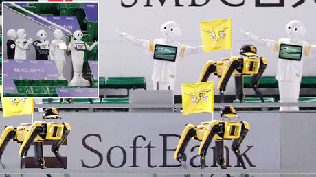 Spot the dog and Pepper the robot at Nippon Professional Baseball © Kyodo Kyodo / Reuters
