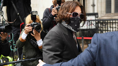 Johnny Depp arrives at The Royal Courts of Justice, Strand on July 8, 2020 in London, England