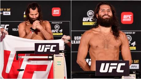 UFC fighter Jorge Masvidal makes weight for his title fight with Kamaru Usman. © Zuffa LLC / Getty Images