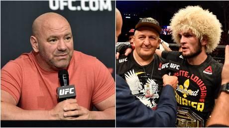 UFC boss Dana White and lightweight champion Khabib Nurmagomedov with his late father Abdulmanap. © Getty Images / Zuffa LLC