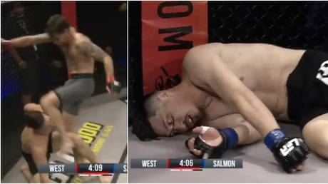 An illegal knee by Shawn West has gone viral on MMA social media. Twitter @UFCFightPass.