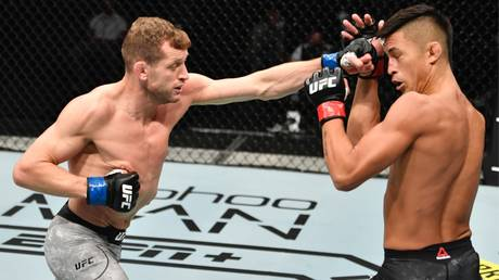 """Davey Grant (left) scored a stunning KO in the first-ever """"UFC Fight Island"""" event"""