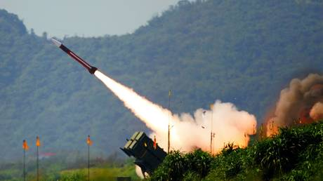 Patriot missile is launched 80km (49 miles) west of Taipei in Taiwan, China