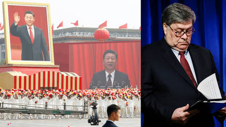 A float showing Chinese President Xi Jinping during the PRC's 70th anniversary parade, October 1, 2019. Right: US Attorney General William Barr (file photo)