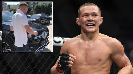 UFC champion Petr Yan picks up his new Mercedes © Instagram / petr_yan | © Stephen R Sylvanie / USA Today Sports via Reuters
