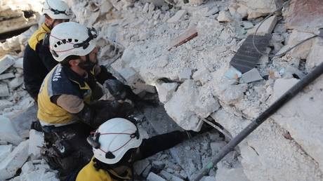 FILE PHOTO: White Helmets members at work in Idlib province, February 2, 2020 © AFP / Omar Haj Kadour
