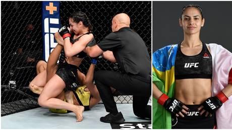 UFC flyweight Ariane Lipski secures a kneebar submission victory over Luana Carolina. © Zuffa LLC via Getty Images