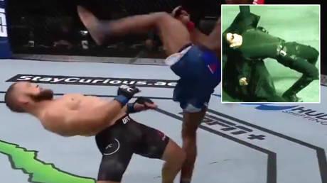 UFC winner Rafael Fiziev has been likened to Keanu Reeves' Neo character in The Matrix | © Twitter / MMAassault1 / PParragoNn