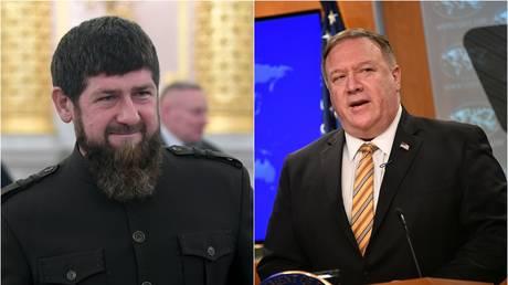 © (L) Chechen leader, Ramzan Kadyrov / Sputnik / Maksim Blinov; (R) US State Secretary Mike Pompeo / Reuters / Mangel Ngan
