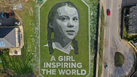 "A 60m portrait of Swedish climate activist Greta Thunberg entitled ""A girl inspiring the world""."