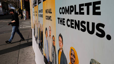 Signs advertising the 2020 US Census in Seattle, Washington, March 23, 2020.