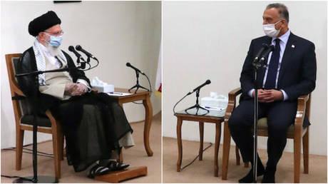 Iran's leader Ayatollah Ali Khamenei meets with Iraqi Prime Minister Mustafa al-Kadhimi in Tehran, July 21, 2020.