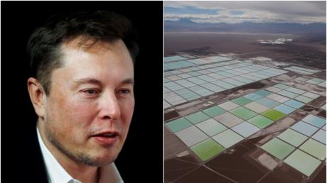 Elon Musk and the brine pools of a lithium mine in Chile © REUTERS / Hannibal Hanschke; Ivan Alvarado