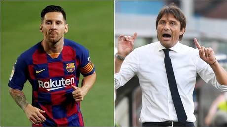Barcelona star Lionel Messi and Inter Milan manager Antonio Conte. © Reuters