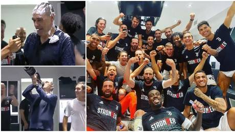 Juventus celebrated a ninth straight Serie A title. © Twitter @ESPNFC / Instagram @cristiano