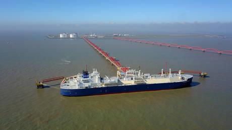 Vessel carrying liquefied natural gas (LNG) cargo from Russia's Yamal LNG project, is seen at Rudong LNG Terminal in Nantong, Jiangsu, China