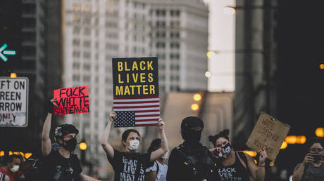 Black Lives Matter Protesters March in the streets of Chicagoin Chicago, United States, on July 25, 2020