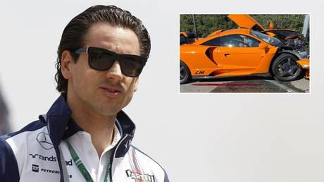 Former F1 star Adrian Sutil and the wrecked McLaren supercar he reportedly owns. © Global Look Press / Instagram @robgilles