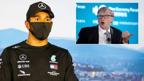F1 world champion Lewis Hamilton and billionaire Bill Gates. © F1 handout via Reuters / Reuters