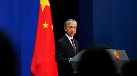 Chinese Foreign Ministry spokesman Wang Wenbin in Beijing, China July 27, 2020. ©Reuters/Tingshu Wang