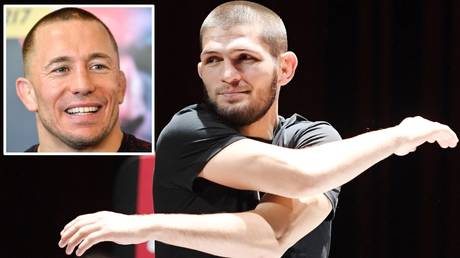 Final fight? Khabib Nurmagomedov and (inset) Georges St-Pierre