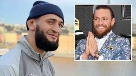 Social media jibes: Khamzat Chimaev and (inset) Conor McGregor