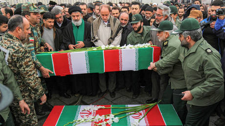 FILE PHOTO. The funeral of four Iranian victims of a Ukrainian plane crash in Iran. ©Abdolrahman Rafati / Tasnim News Agency via REUTERS