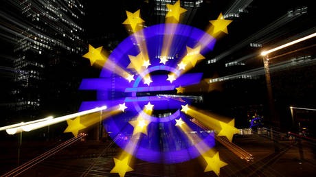 The euro sign in front of the former head quarter of the European Central Bank in Frankfurt, Germany