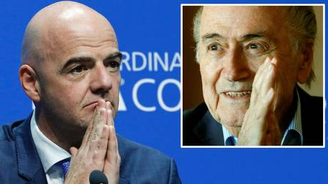 FIFA controversy: Current president Gianni Infantino and (inset) former president Sepp Blatter