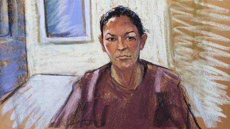 FILE PHOTO: In a courtroom sketch, Ghislaine Maxwell appears via video link during her arraignment hearing where she was denied bail for her role aiding Jeffrey Epstein to recruit and eventually abuse of minor girls, in Manhattan Federal Court, in New York City.