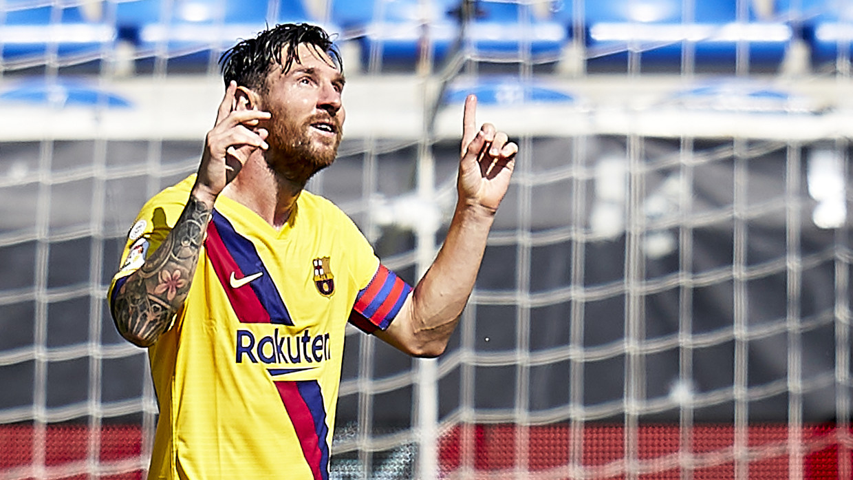 Lionel Messi celebrates against Alaves. © Quality Sport Images / Getty Images