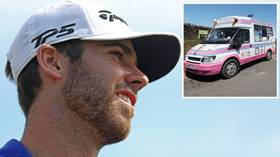 Ice cool: Golf ace fires his way to the top of the leaderboard – thanks to an ICE CREAM VAN (VIDEO)